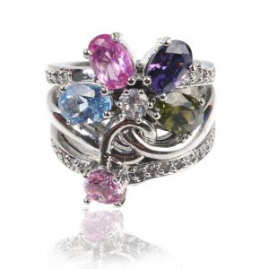 Inel MultiColour Crystal Glow0