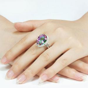 Inel Mistic Fire Topaz Pear 10 carate Argint 925 Marimea 75