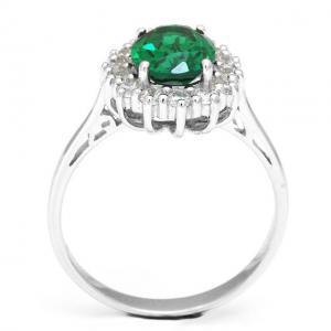 Inel Oval Russian Luxury Smarald 2,5 carate Argint Borealy Marimea 62