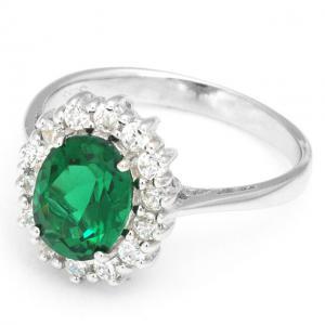 Inel Oval Russian Luxury Smarald 2,5 carate Argint Borealy Marimea 61
