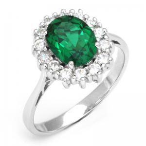 Inel Oval Russian Luxury Smarald 2,5 carate Argint Borealy Marimea 60