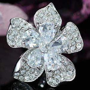 Inel Borealy Crystal Pear Cut 12 carate Queen Flower5