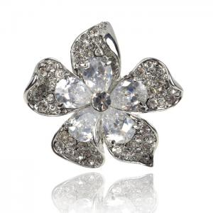 Inel Borealy Crystal Pear Cut 12 carate Queen Flower0