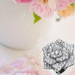 Inel Borealy Titanium Simulated Diamonds Luxury Rosa Marimea 6,55