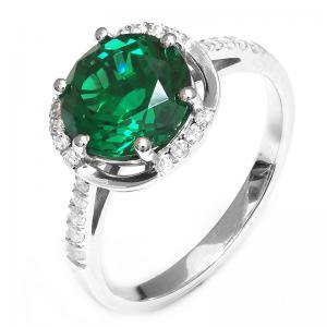 Inel Round Luxury Smarald 3 carate Argint Borealy Marimea 6,50
