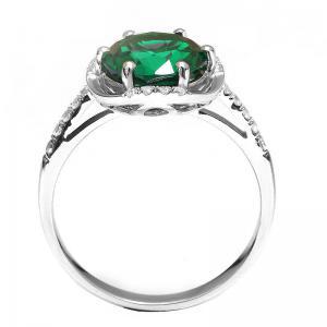 Inel Round Luxury Smarald 3 carate Argint Borealy Marimea 6,52