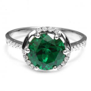 Inel Round Luxury Smarald 3 carate Argint Borealy Marimea 6,51