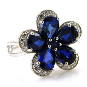 Inel Safire Flowers 5 carate & Silver 9254