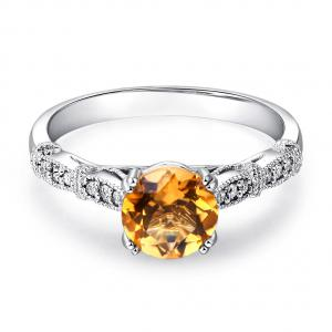 Inel Borealy Aur Alb 14K 1.2 CT Citrine Natural Diamonds Vintage Style8