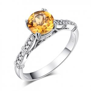 Inel Borealy Aur Alb 14K 1.2 CT Citrine Natural Diamonds Vintage Style