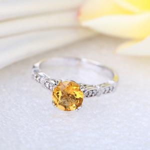 Inel Borealy Aur Alb 14K 1.2 CT Citrine Natural Diamonds Vintage Style9
