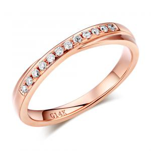 Inelul Borealy Aur Roz 18 K Natural Diamonds Women's Style Twisted Band