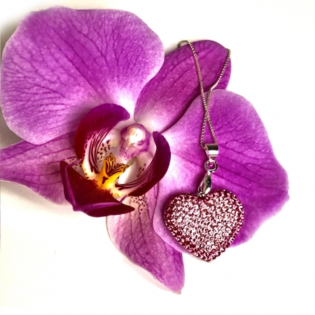 Inima Swarovski Phantasya Pink & Lantisor Argint 9252