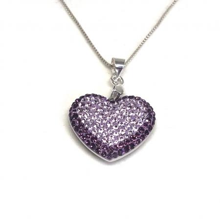 Inima Swarovski Phantasya Purple & Lantisor Argint 925