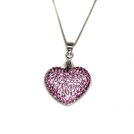 Inima Swarovski Phantasya Pink & Lantisor Argint 9253