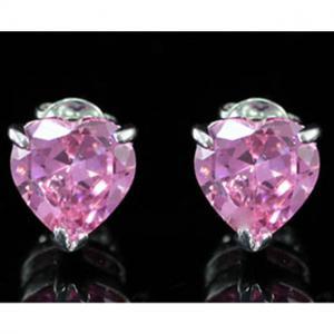 Cercei Studs Sapphire Heart Pink3