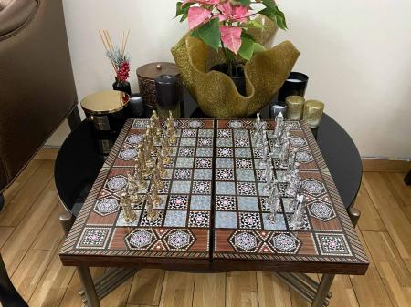 Joc de SAH si TABLE cu insertii de sidef, piese sah din metal AURII/ARGINTII sculptate manual, calitate premium14