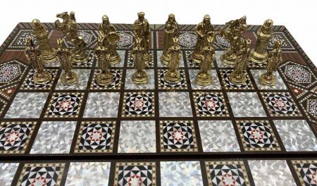 Joc de SAH si TABLE cu insertii de sidef, piese sah din metal AURII/ARGINTII sculptate manual, calitate premium4