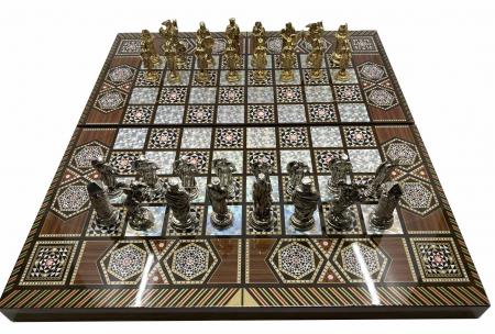 Joc de SAH si TABLE cu insertii de sidef, piese sah din metal AURII/ARGINTII sculptate manual, calitate premium1
