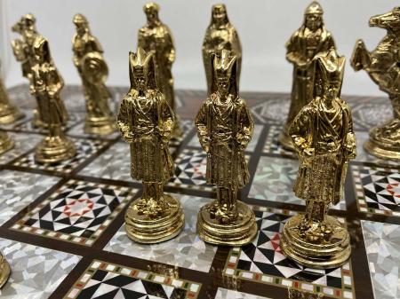 Joc de SAH si TABLE cu insertii de sidef, piese sah din metal AURII/ARGINTII sculptate manual, calitate premium9
