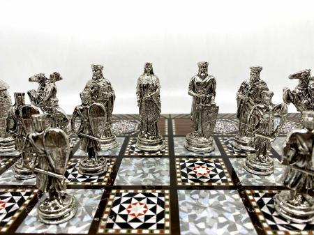 Joc de SAH si TABLE cu insertii de sidef, piese sah din metal AURII/ARGINTII sculptate manual, calitate premium3
