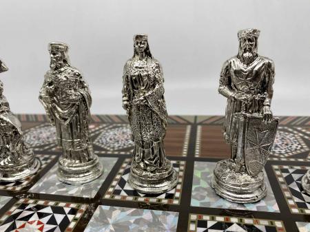 Joc de SAH si TABLE cu insertii de sidef, piese sah din metal AURII/ARGINTII sculptate manual, calitate premium7