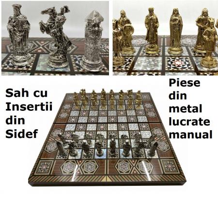 Joc de SAH si TABLE cu insertii de sidef, piese sah din metal AURII/ARGINTII sculptate manual, calitate premium0