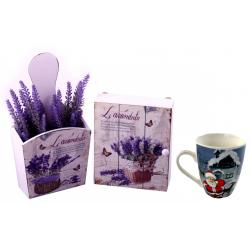 Key Box & Flowerpot Set Lavender Love + Cana de Craciun din Ceramica