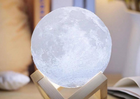 "Lampa Luna 3D Moon, 46 cm circumferinta, & placuta ""I Love You to the Moon and Back""0"