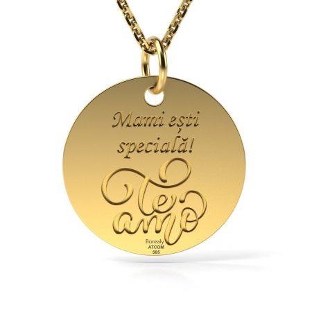 Lantisor cu Pandantiv Te Amo Aur galben 14 kt personalizabil
