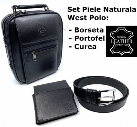 Leather Set: WestPolo Borseta, Portofel si Curea Negre Piele Naturala0
