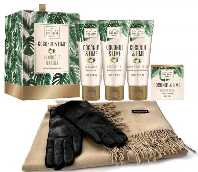 Luxurious Gift Esarfa Casmir, Mănuşi Piele naturală & Cosmetice Coconut & Lime Scottish Fine Soaps - personalizabil0