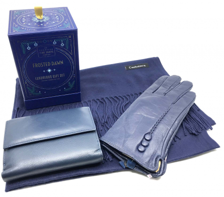 Luxurious Winter Blue Esarfa Casmir, Portofel si Manusi Piele Naturala & Cosmetice Frosten Down Scottish Fine Soaps