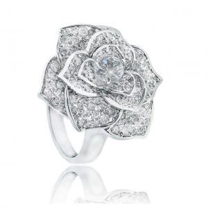 Inel Borealy Titanium Simulated Diamonds Luxury Rosa Marimea 6,53