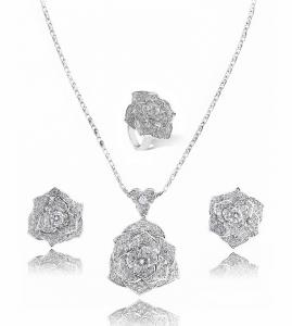 Luxury Rosa Set Cercei Borealy Colier Si Inel