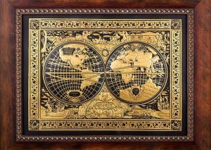 Luxury World Map Painting by Credan - Gold Plated - Made in Spain1