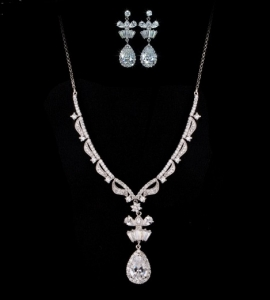Marquise Cluster Set Colier si Cercei1