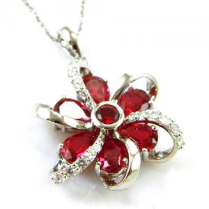 Cercei şi medalion Flower Rubin by Borealy Argint 9259