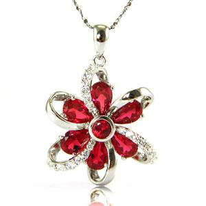 Cercei şi medalion Flower Rubin by Borealy Argint 9256