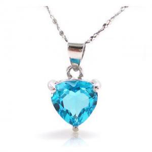 Medalion Topaz Blue Inima pietre pretioase naturale 2 carate0