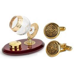 Set Încălzitor de Cognac de Lux by Credan si Butoni Gold Round by Credan