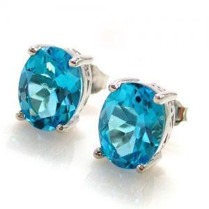 Ocean Blue Topaz Cercei si Colier - Pietre Pretioase Naturale Argint 9251