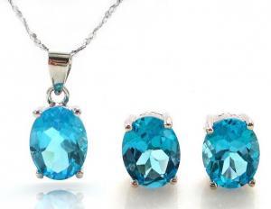 Ocean Blue Topaz Cercei si Colier - Pietre Pretioase Naturale Argint 9250