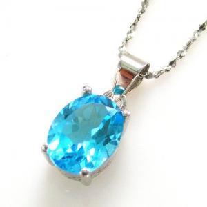 Ocean Blue Topaz Cercei si Colier - Pietre Pretioase Naturale Argint 9252