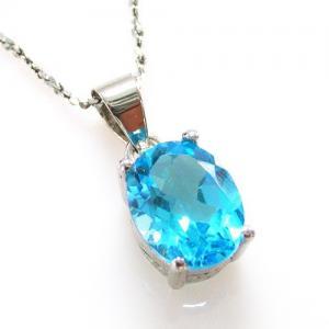 Ocean Blue Topaz Cercei si Colier - Pietre Pretioase Naturale Argint 9253