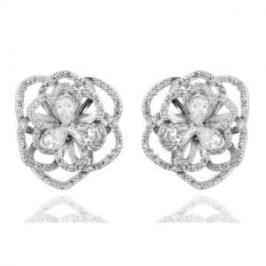 Set Borealy Simulated Sapphire Colier, Cercei, Brosa si Inel Camellia Luxury4