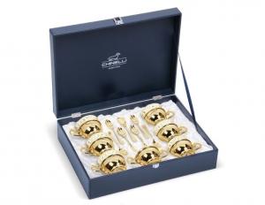 Set Oriental Tea 6 persoane placat cu aur galben by Chinelli, made in Italy