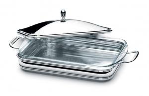 Vas termorezistent cu capac și suport cu mânere argintate by Chinelli, made in Italy