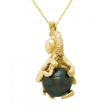 Pandantiv aur galben 18k cu diamante si perla naturala1