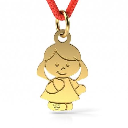 Pandantiv Fetita cu Snur reglabil din Aur galben 14 kt personalizabil